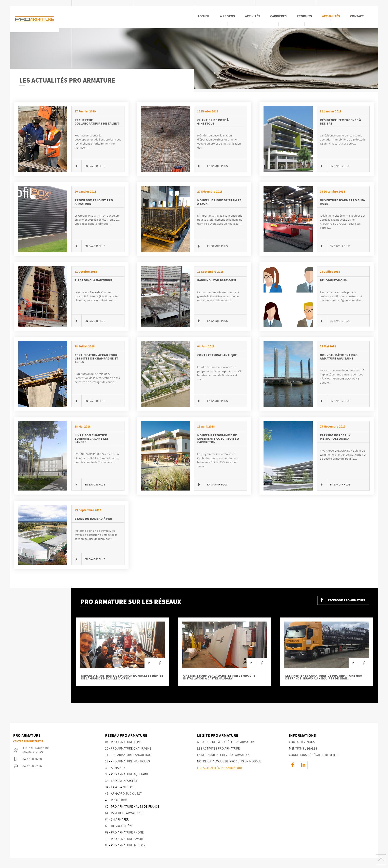 page actualites pro armature kalfeutre webdesign