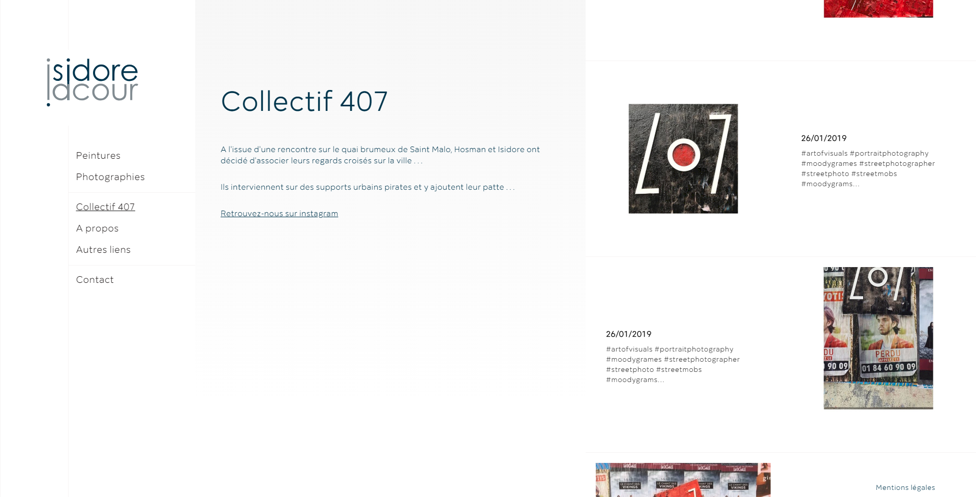 page liaison instagram isidore lacour, kalfeutre webdesign