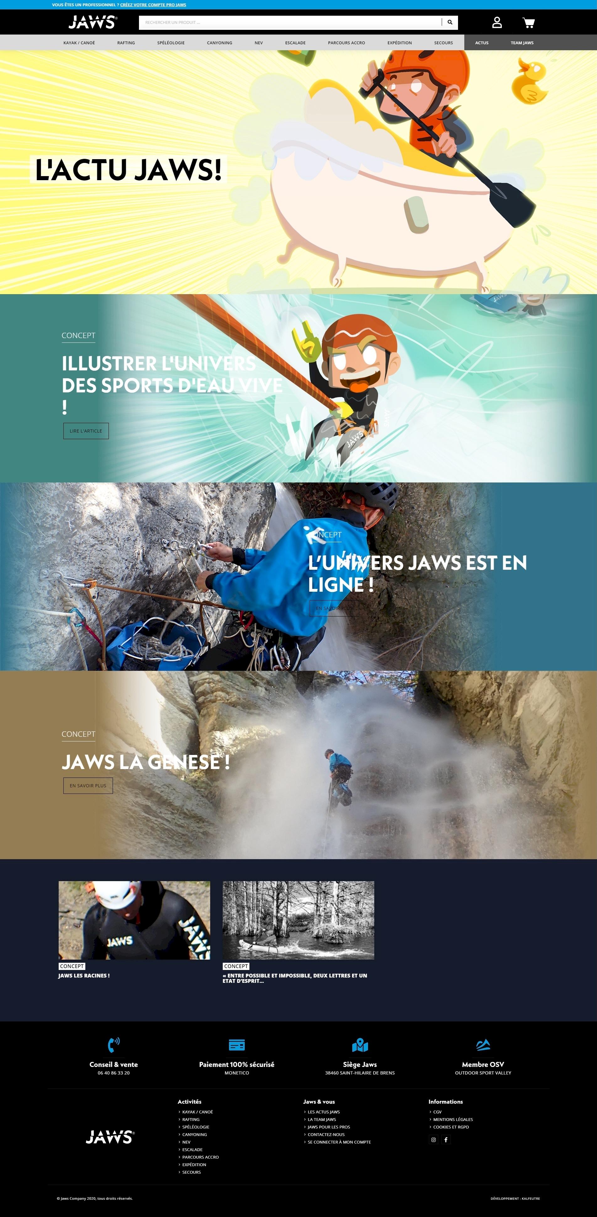 Jaws company, développement de site internet kalfeutre lyon