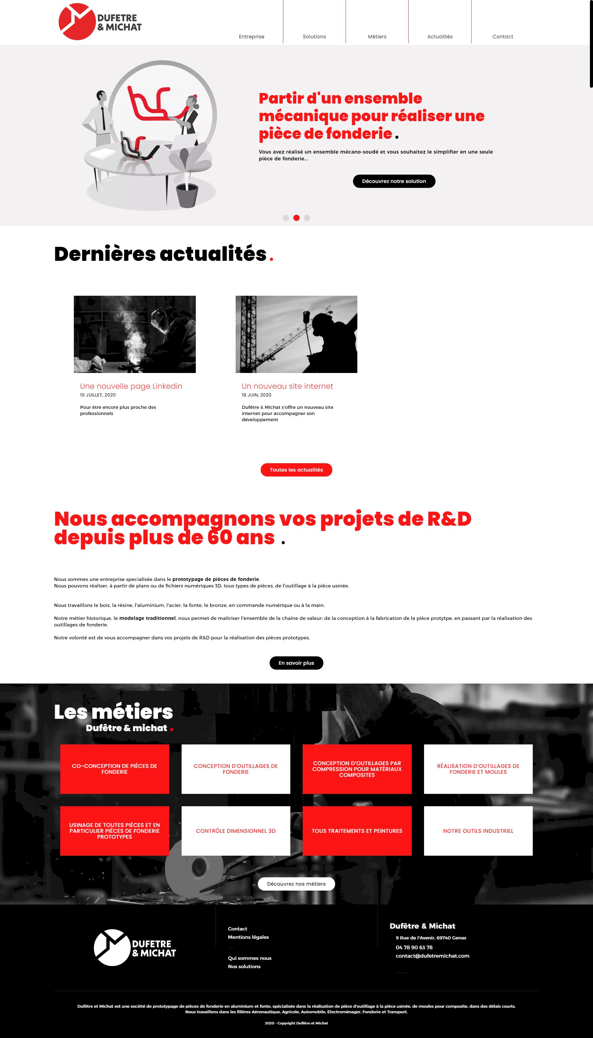 accueil site dufetre et michat, integration et creation site web lyon